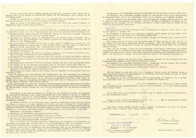 1947 - Mietvertrag Margarethe Huttner - Bauverein Schweinfurt